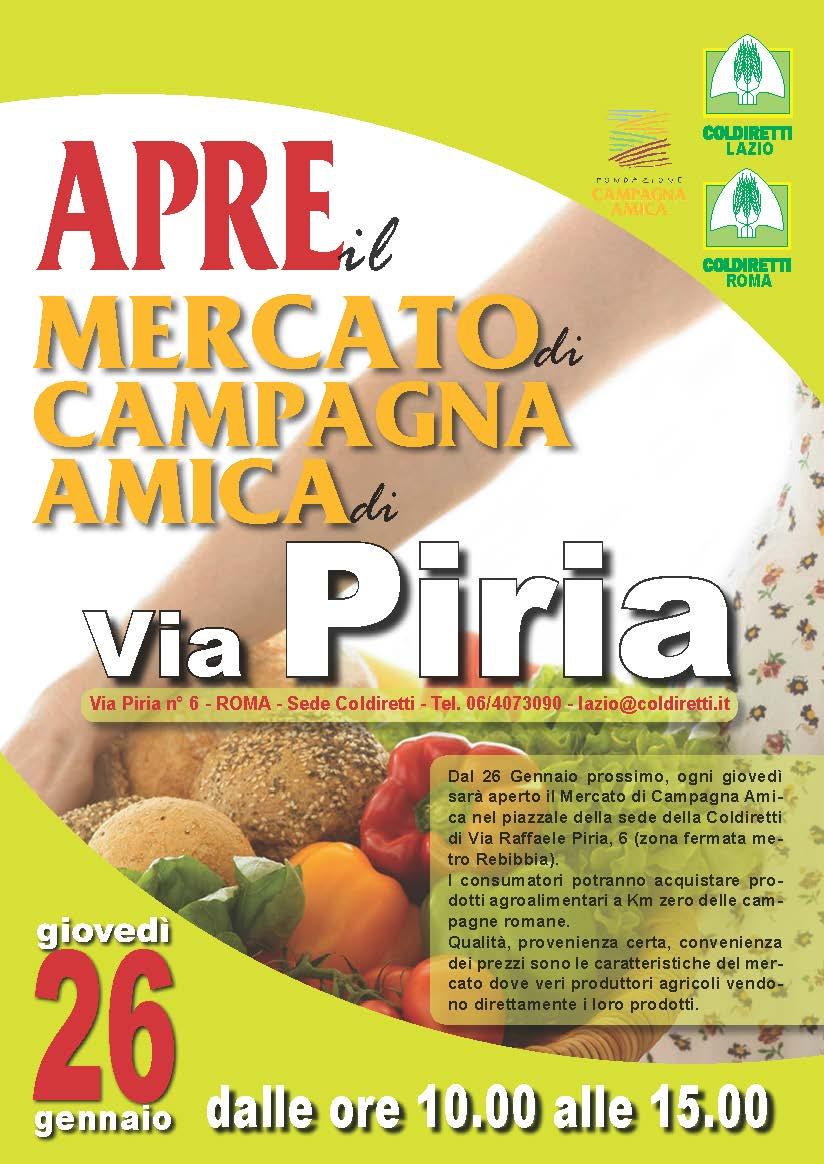 APRE IL MERCATO DI CAMPAGNA AMICA IN VIA PIRIA